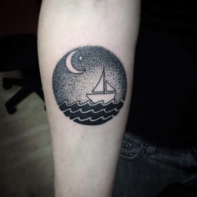 Dotwork Boat Forearm Tattoo
