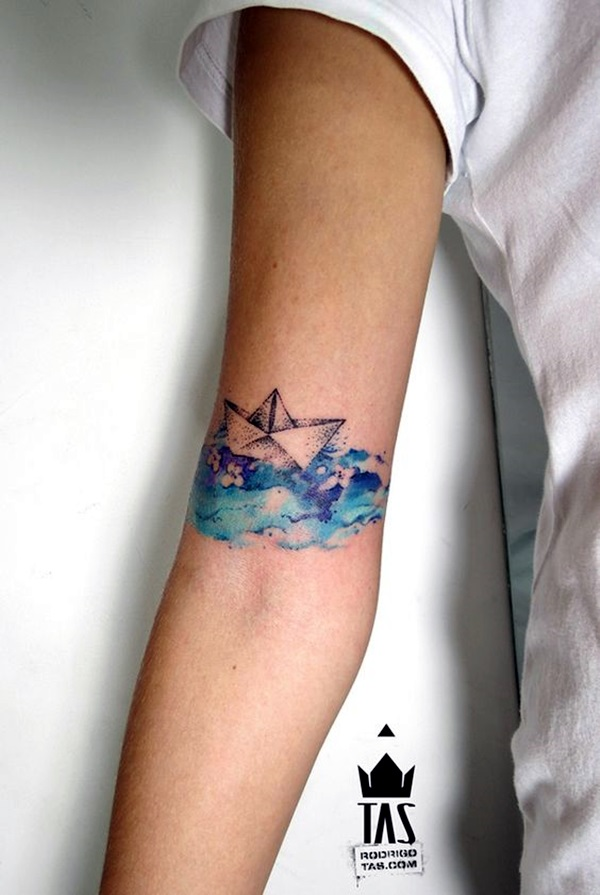 Dotwork Paper Boat Arm Tattoo