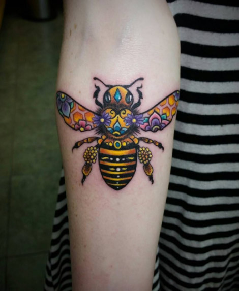 Double Exposure Bee Forearm Tattoo