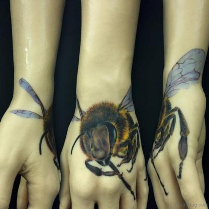 Fabulous Bee Hand Tattoo