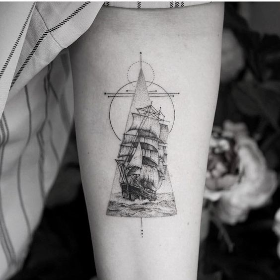 486718baf Fine Line Ship Forearm Tattoo | Amazing Tattoo Ideas