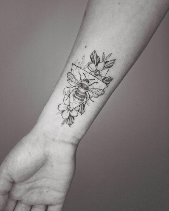 Fine Work Botanical Bee Forearm Tattoo