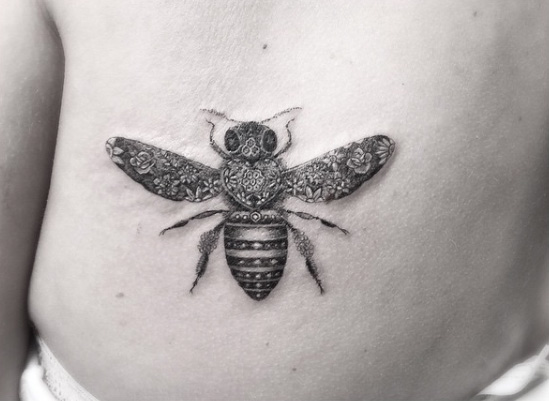 Floral Bee Back Tattoo