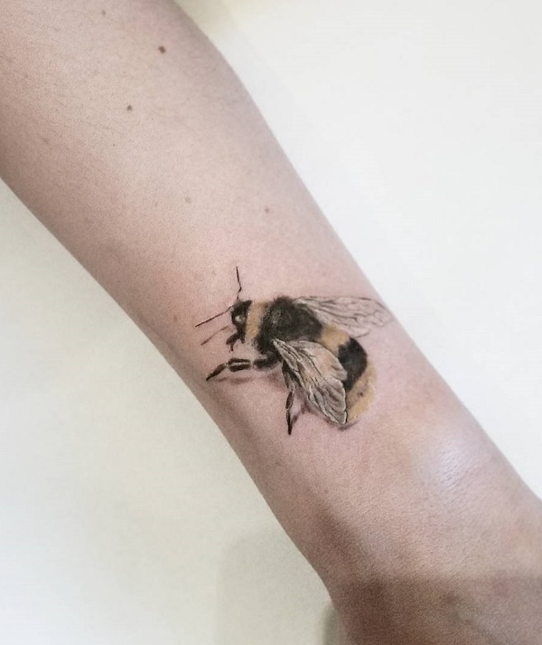 Furry Bee Leg Tattoo