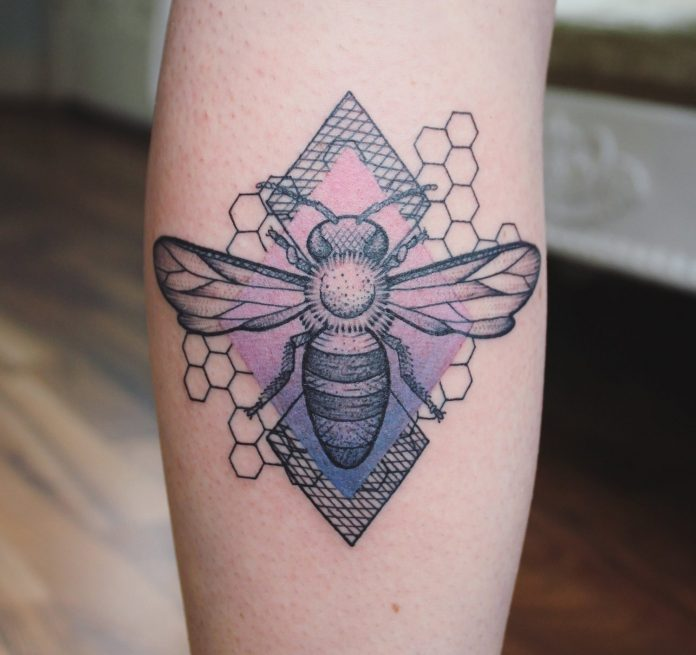 Gradient Geometric Bee Tattoo