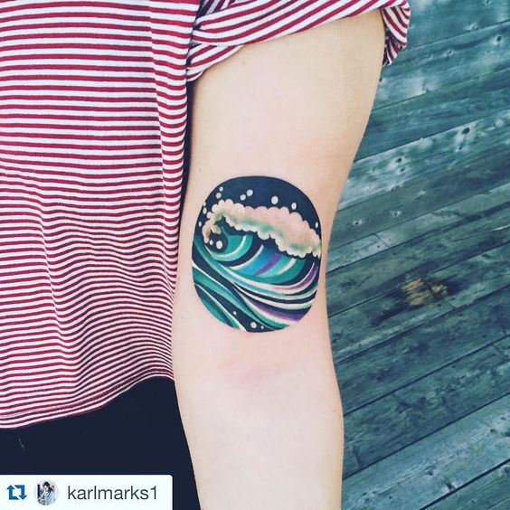 Graphic Wave Arm Tattoo