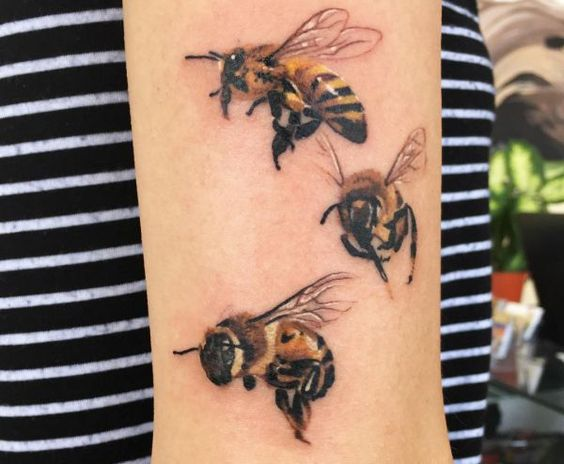 Group Of Bees Arm Tattoo