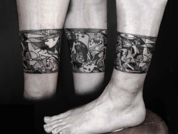 Guernica Leg Band Tattoo