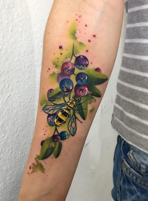 Honey Bee With Fruit Forearm Tattoo