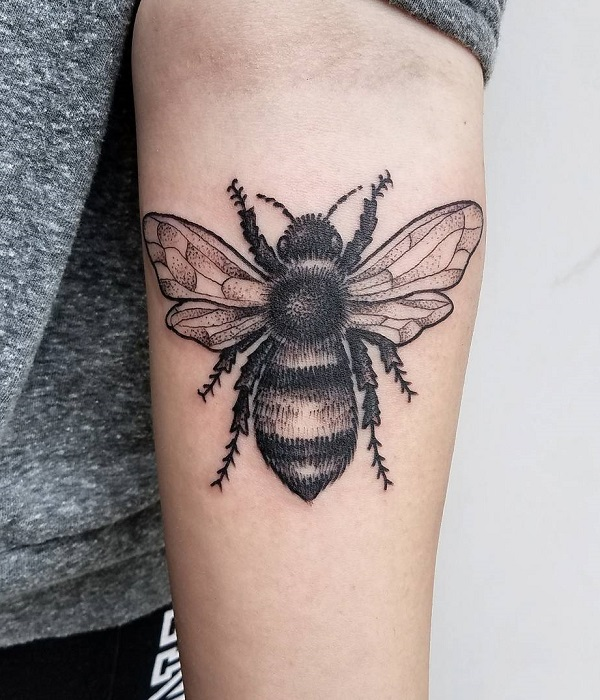 Intricate Bee Forearm Tattoo