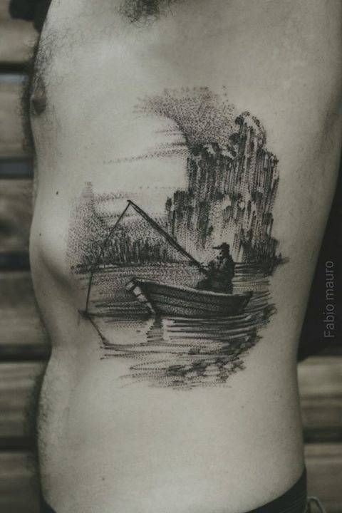 Intricate Fishing Boat Side Tattoo