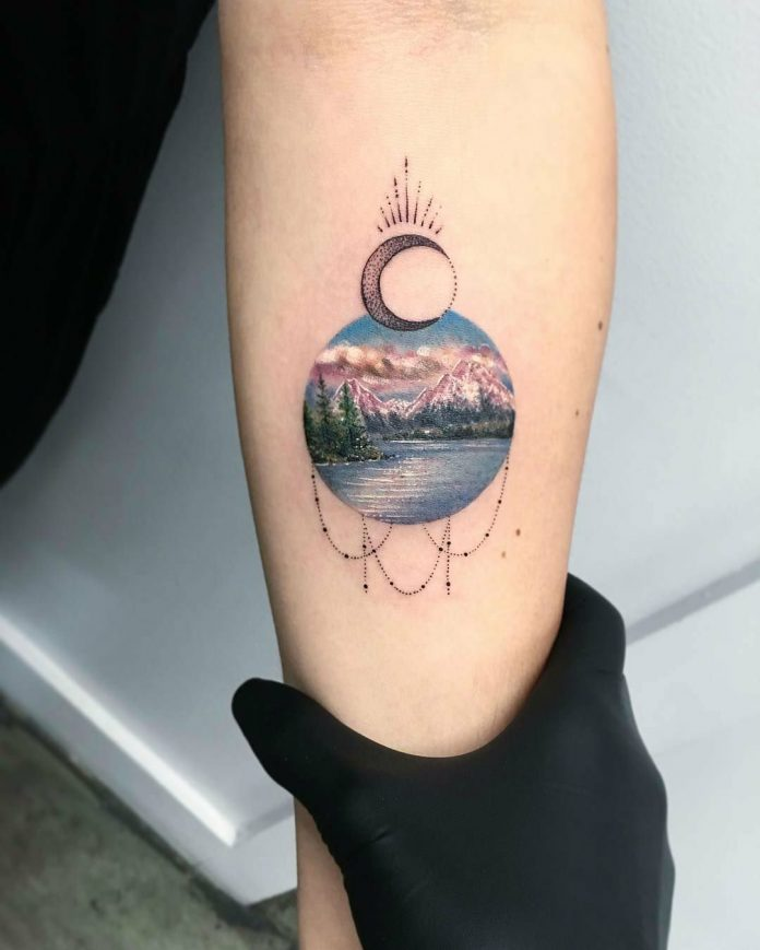Lovely Landscape Circle Tattoo