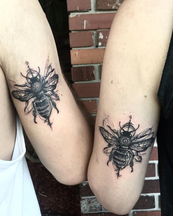 Matching Sketchy Bees Arm Tattoo