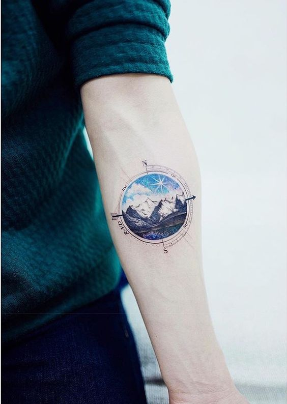 Mountains and Compass Circle Tattoo