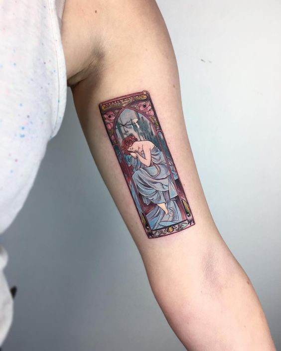 Mucha's Evening Reverie Arm Tattoo