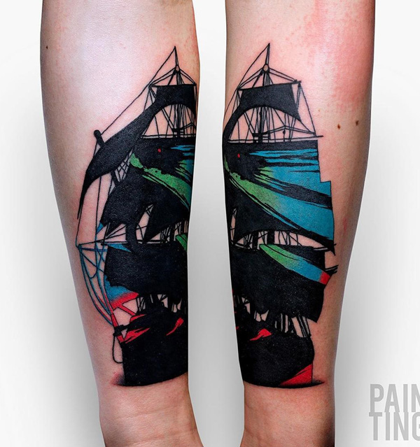 Painting Style Boat Tattoo
