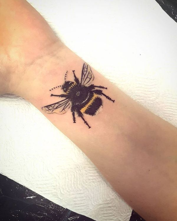 Realistic Honeybee Wrist Tattoo