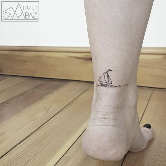 Subtle Boat Ankle Tattoo