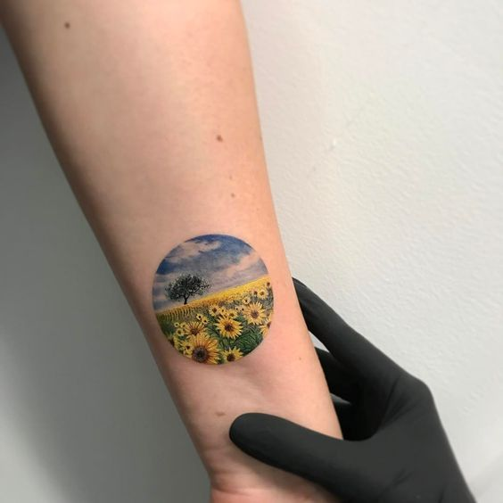 Sunflower Field Circle Forearm Tattoo