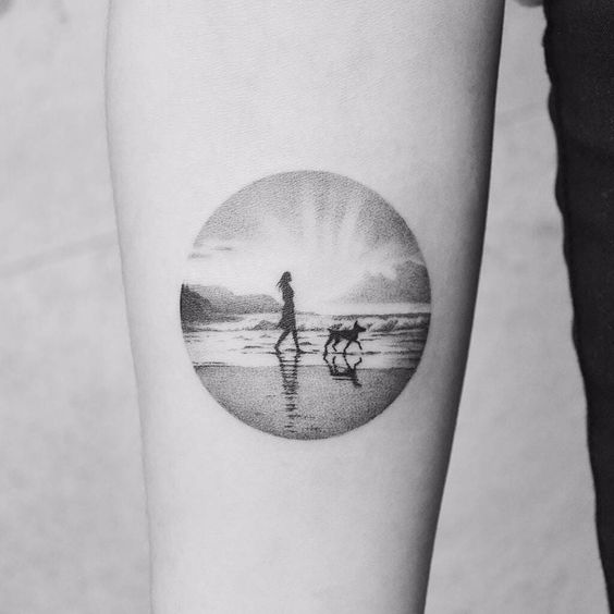Sunsets on the Beach Forearm Tattoo