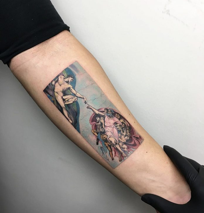 The Creation Of Adam Forearm Tattoo