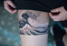 The Great Wave off Kanagawa Thigh Tattoo