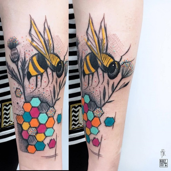 Vibrant Bee Arm Tattoo