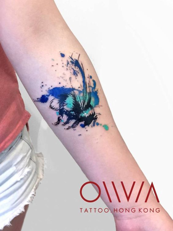 Watercolor Bee Forearm Tattoo