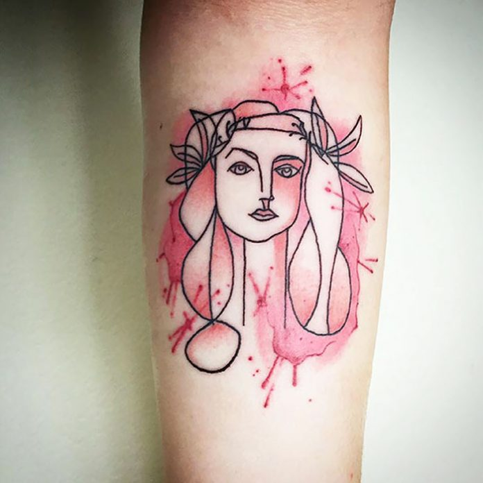 Watercolor Head Of A Woman Forearm Tattoo