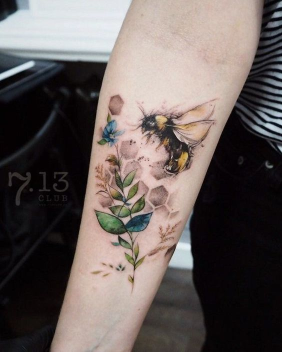 Watercolor Sketchy Bee Forearm Tattoo