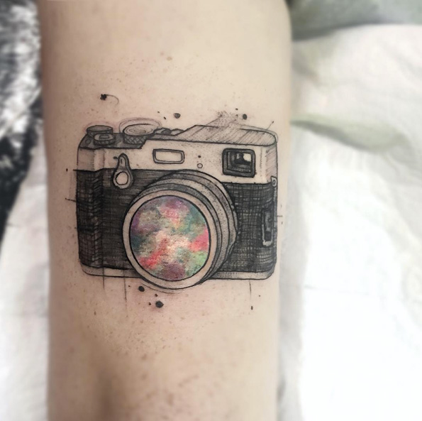 Bokeh Camera Lens Arm Tattoo