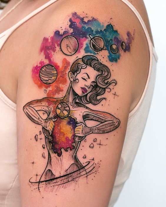 Cosmic Heart Arm Tattoo