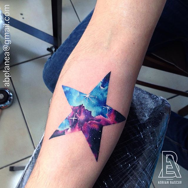 Double Exposure Cosmic Star Forearm Tattoo