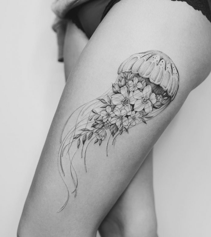 Floral Jellyfish Thigh Tattoo