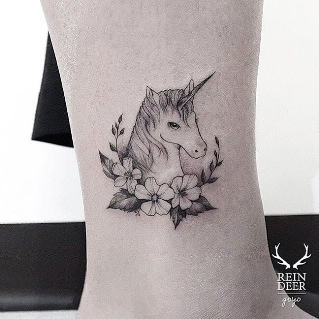 Floral Unicorn Leg Tattoo
