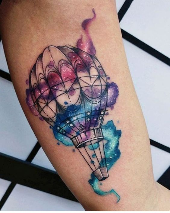 Galactic Hot Air Balloon Arm Tattoo