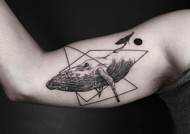 Geometric Whale Arm Tattoo