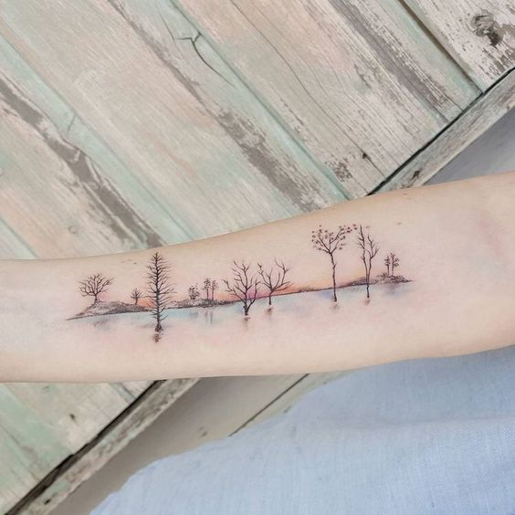 Gorgeous Landscape Forearm Tattoo