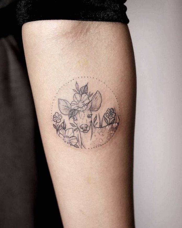 Lovely Deer Forearm Tattoo