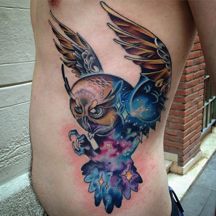 Majestic Cosmic Owl Side Tattoo