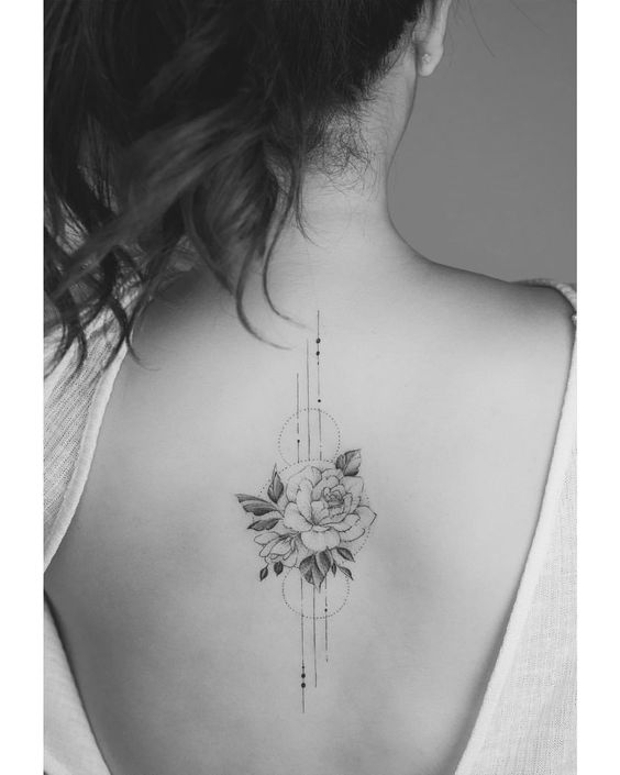 Rose Geometry Back Tattoo