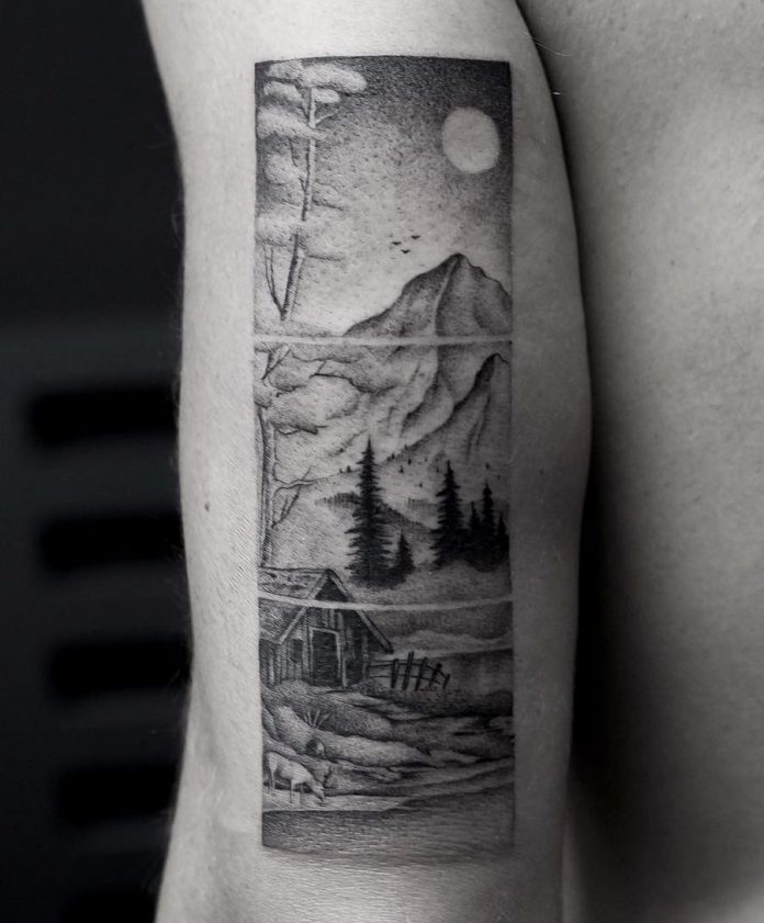 Segmented Landscape Arm Tattoo