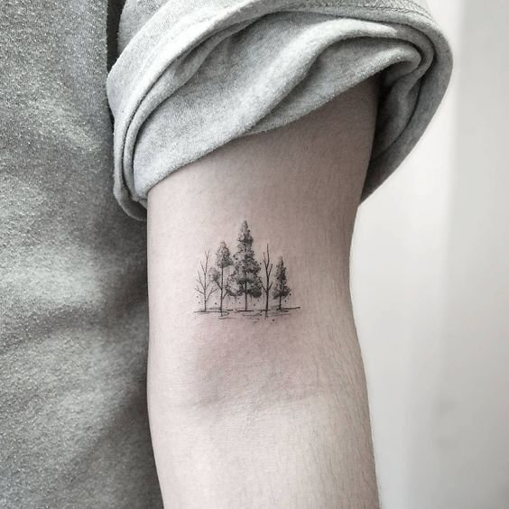 Subtle Forest Arm Tattoo