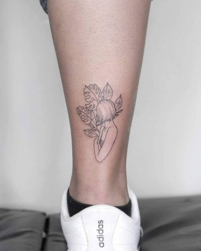 Tropical Girl Calf Tattoo
