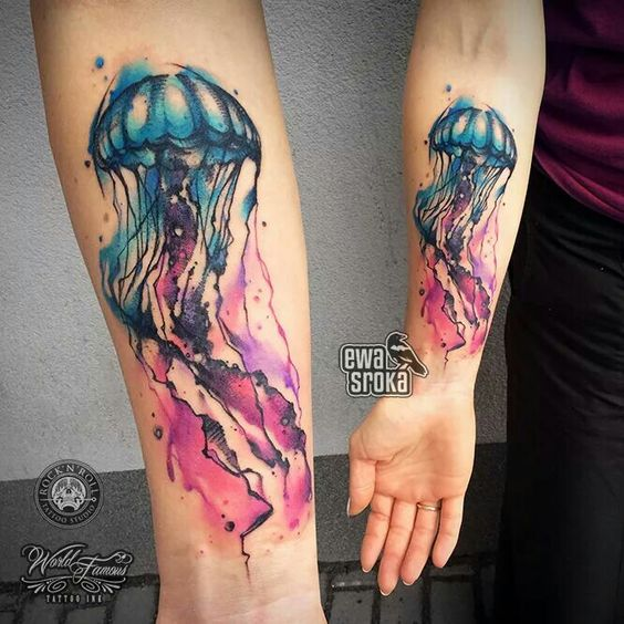 Watercolor Jellyfish Forearm Tattoo
