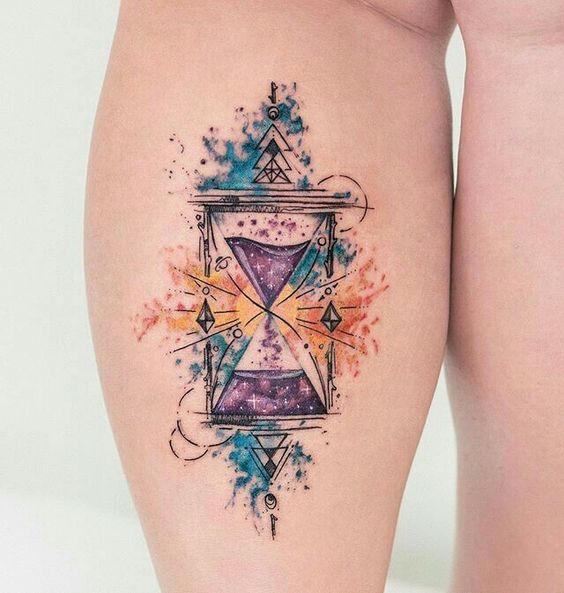 Whimsical Hourglass Leg Tattoo