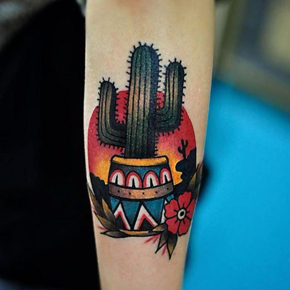 Bright Colored Cactus Tattoo