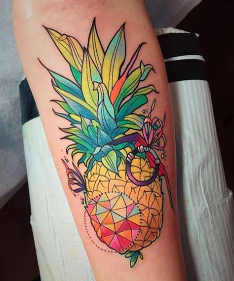 Clever Pineapple Forearm Tattoo