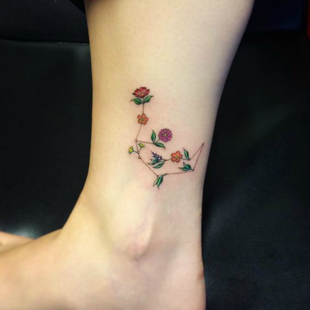 Floral Aquarius Leg Tattoo