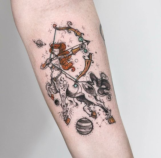 Gorgeous Sagittarius Forearm Tattoo
